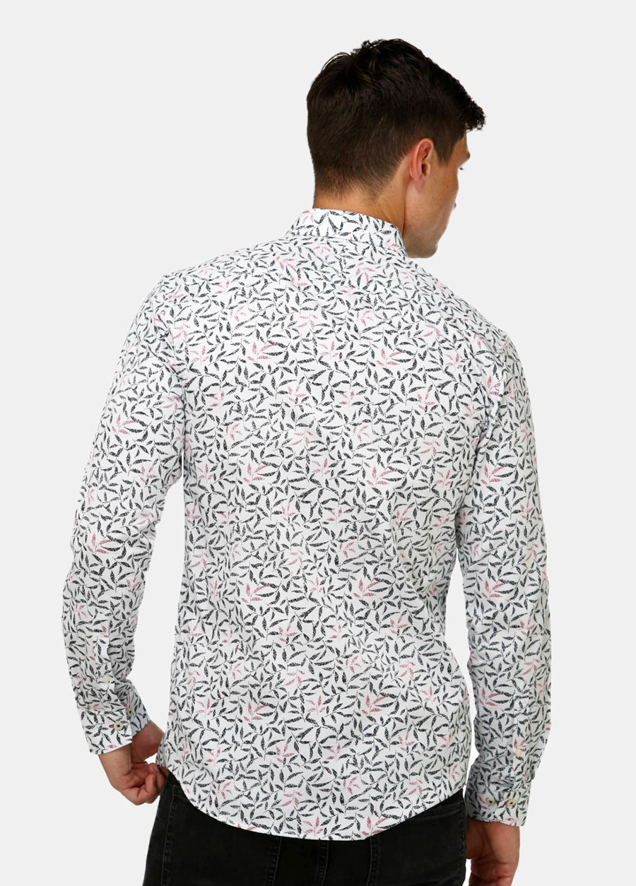 Geo Leaf Print Satin Business Shirt