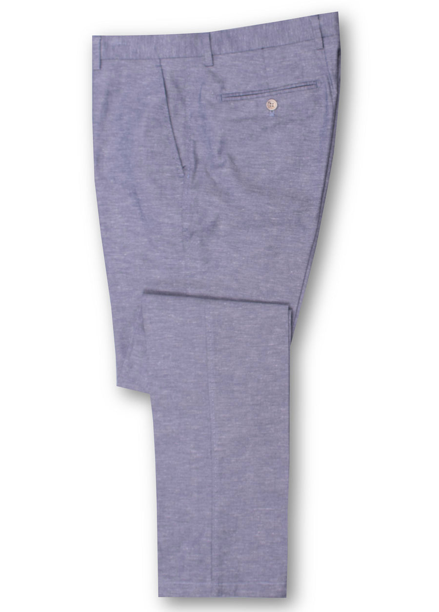 Brooksfield Navy BFU747 Linen Blend Slub Chambray Trouser