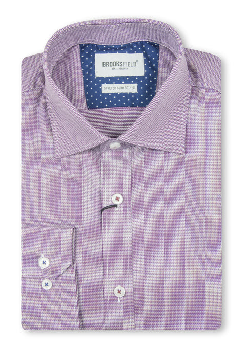 Brooksfield Wine BFC1459 Career Dobby Shirt