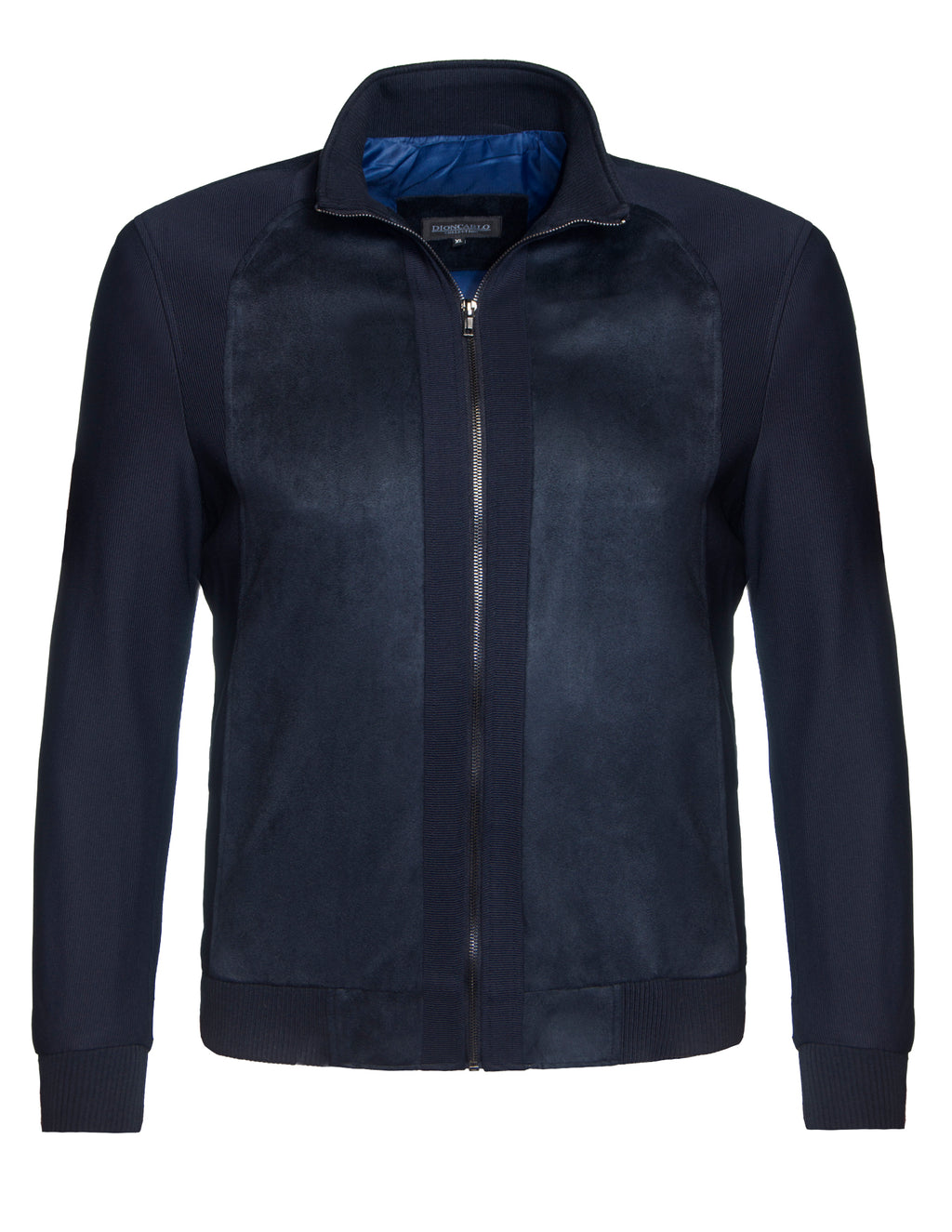 Dion Carlo Navy 156 Knitted Sleeve Full Zip Jacket