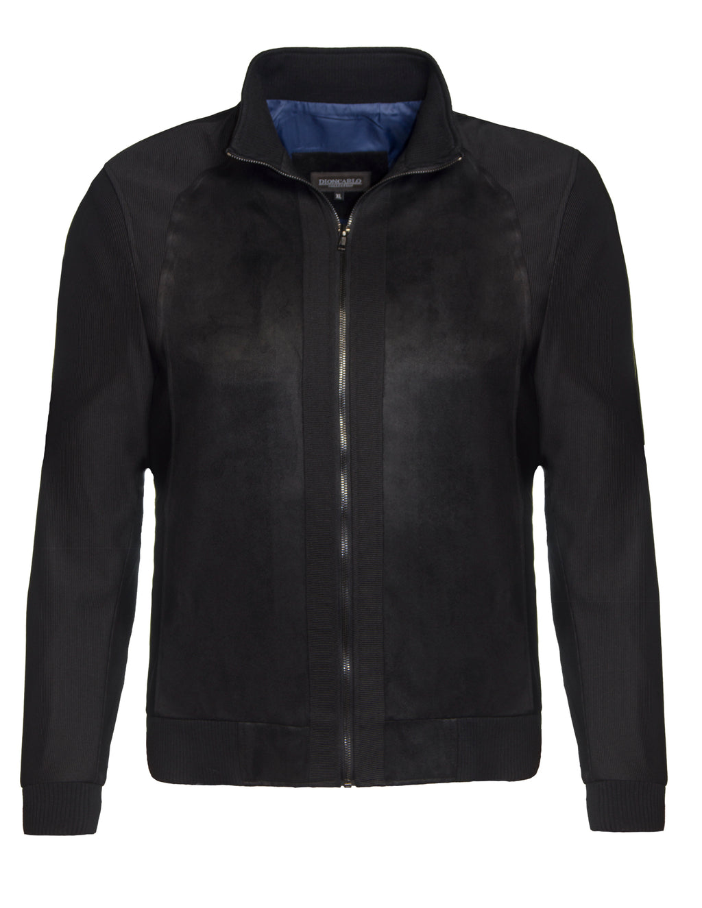 Dion Carlo Black 156 Knitted Sleeve Full Zip Jacket