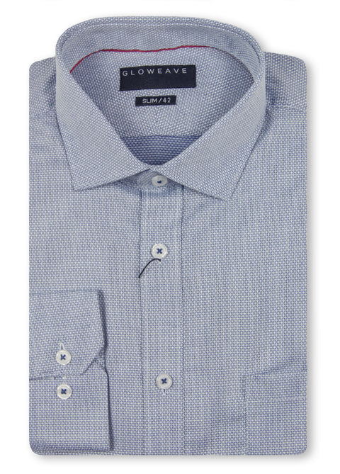 Gloweave Navy 1811L Diamond Dobby Slim Fit Shirt