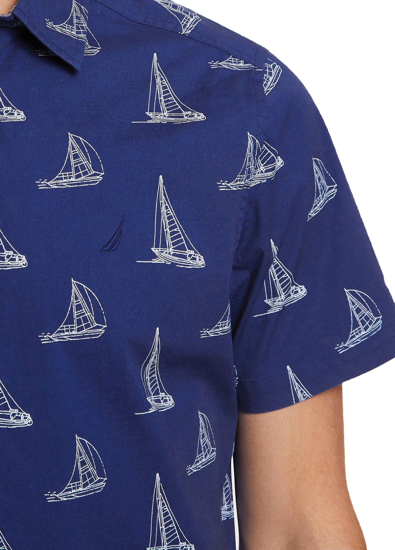 Sailboat Print Stretch Shirt