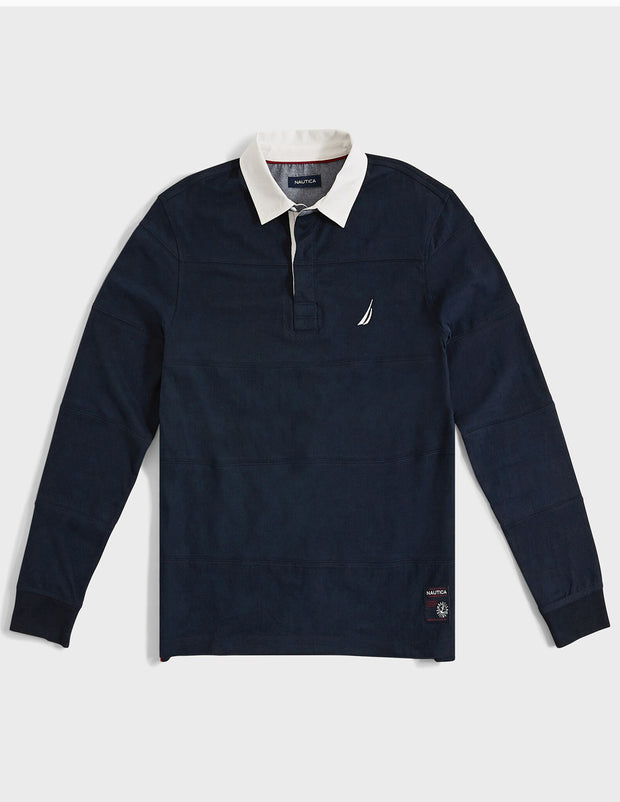 Stripe-Stitched L/S Rugby Polo