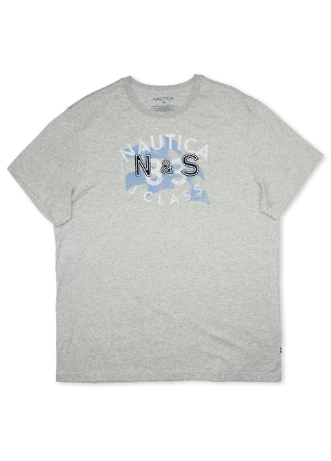 Nautica Grey Heather 73200 Distressed Flag S/S Tee