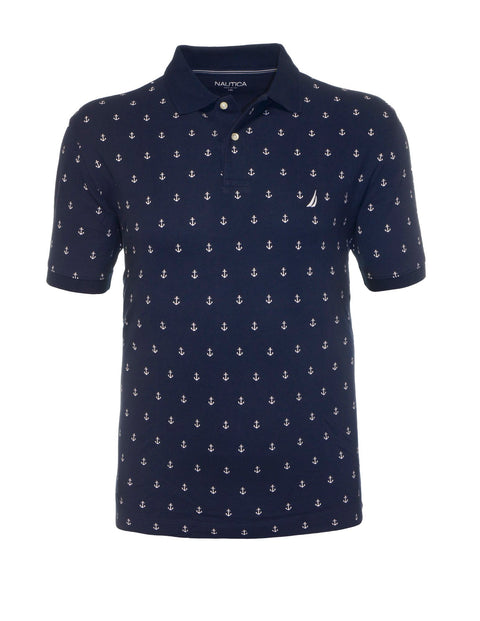 Nautica Navy NAZ811094 All Over Anchor Polo