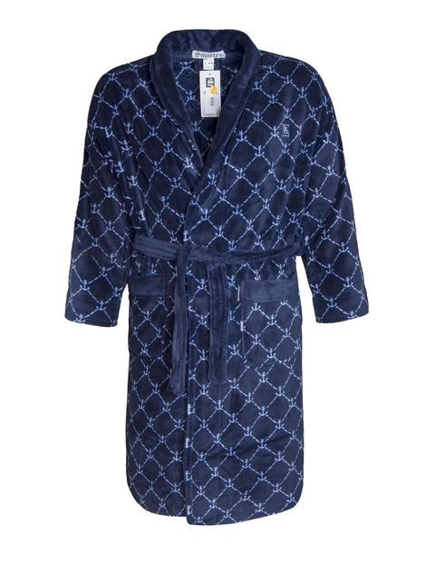 Smartex Navy Anchor Print Coral Fleece Gown