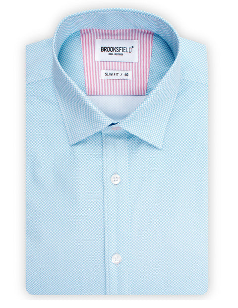 Brooksfield Aqua BFC1515 Career Micro Print Shirt