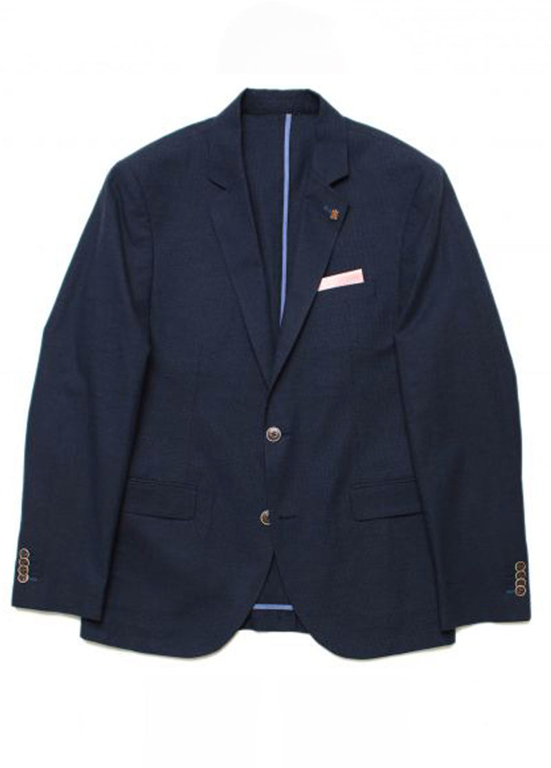 Brooksfield Navy BFU755 Linen Blend Grid Blazer