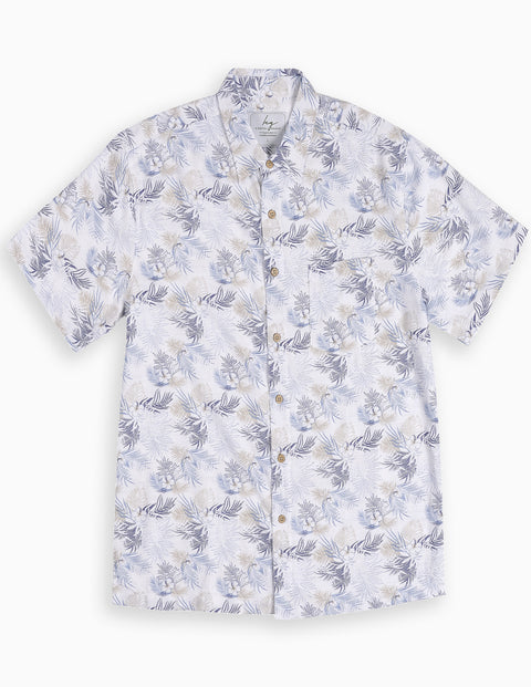 Blue Palm Bamboo Shirt