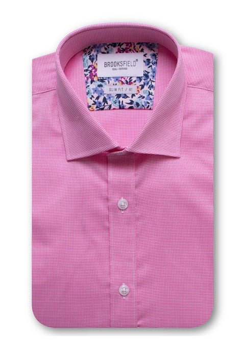 Brooksfield Pink BFC1417 Career Micro Texture L/S Shirt