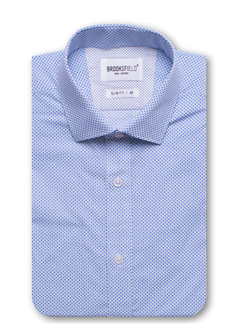 Brooksfield Blue BFC1425 Career Dot Print L/S Shirt