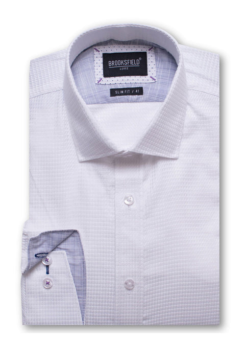 Brooksfield White BFC1426 Luxe Triangle Texture Shirt