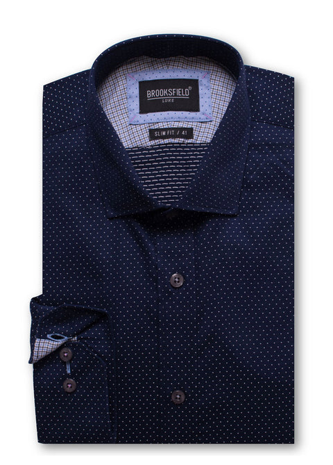 Brooksfield Navy BFC1428 Luxe Dobby L/S Shirt