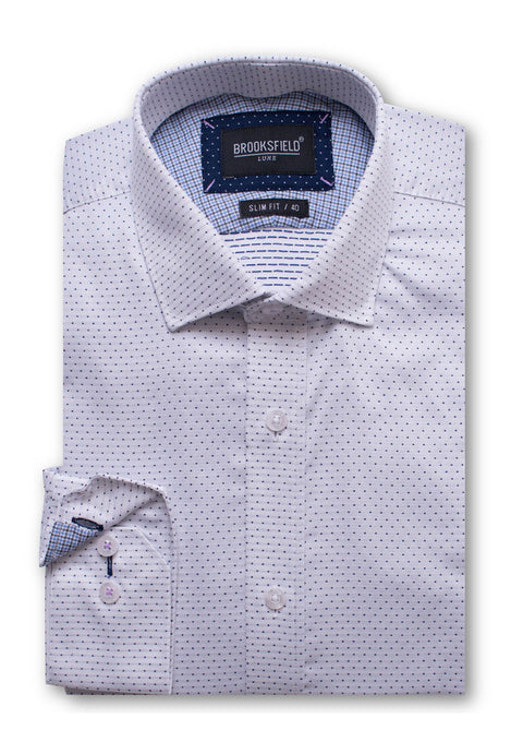 Brooksfield White BFC1428 Luxe Dobby L/S Shirt