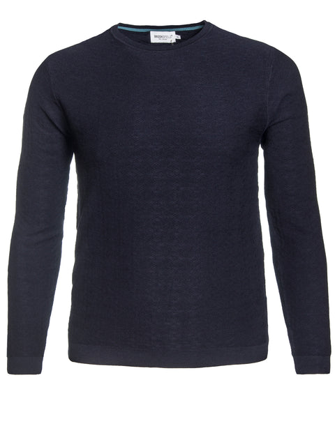Brooksfield Navy BFK379 Diamond Knit