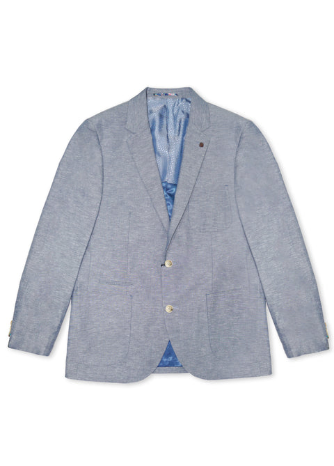 Brooksfield Navy Linen Blend Chambray Blazer