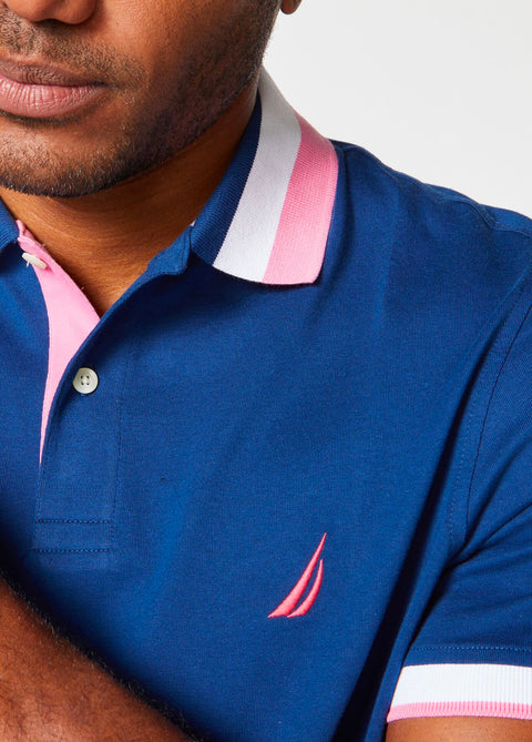 Jersey Solid Polo With Tipped Collar