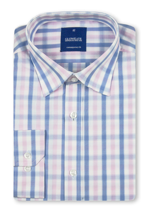 Gloweave Pink 1711L Soft Tonal Check Contemporary Fit Shirt