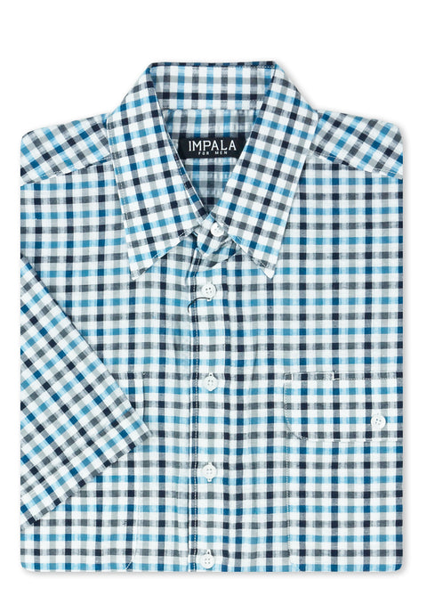 Impala Blue ISS1755 Double Pocket S/S Shirt