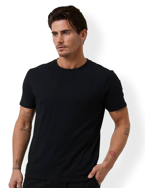 Industrie Black MTE23394 Basic Crew Tee