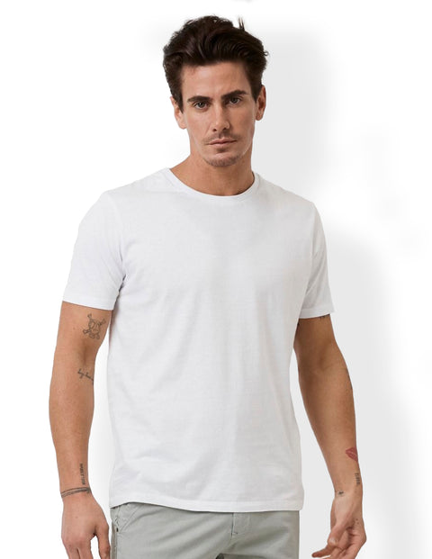 Industrie White MTE23394 Basic Crew Tee