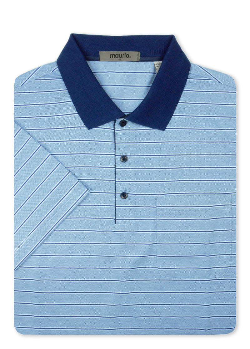 Maurio Blue 5097004 Cotton Poly Polo