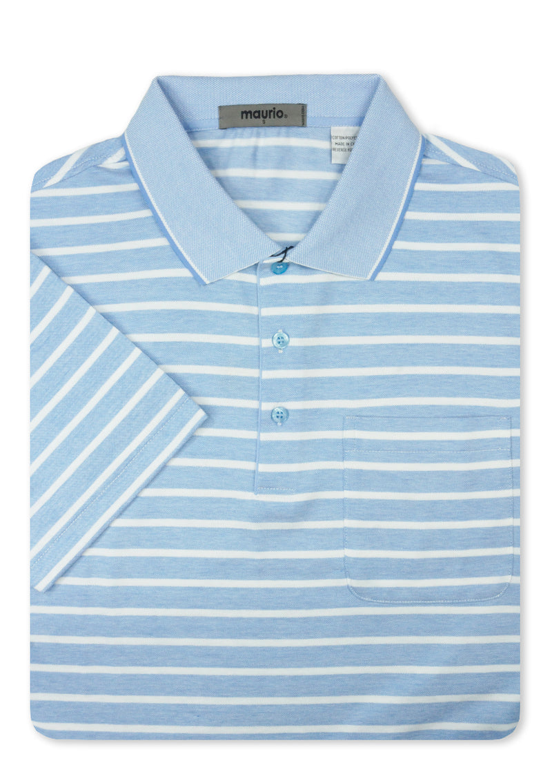 Maurio Blue 5097005 Cotton Poly Polo