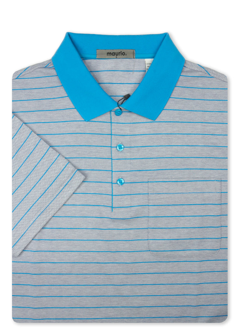 Maurio Blue 5097006 Cotton Poly Polo