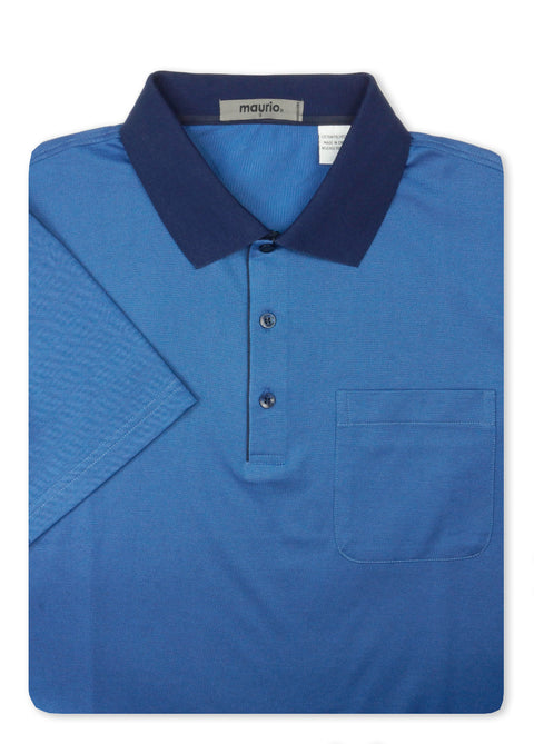 Maurio Blue 5097412 Cotton Poly Polo