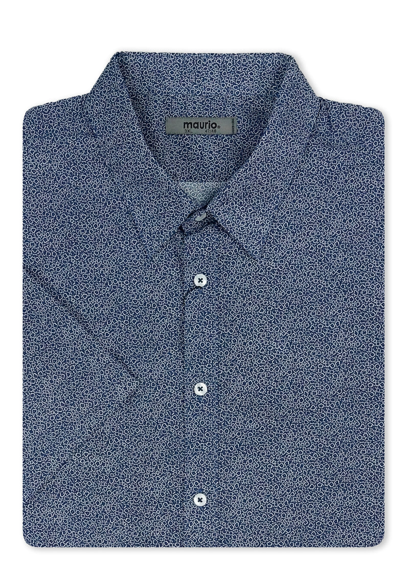 Maurio Navy 211604 Short Sleeve Sport Shirt