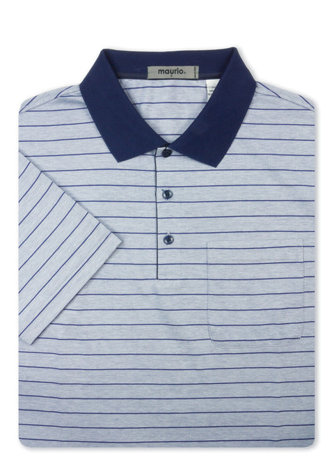 Maurio Navy 5097004 Cotton Poly Polo