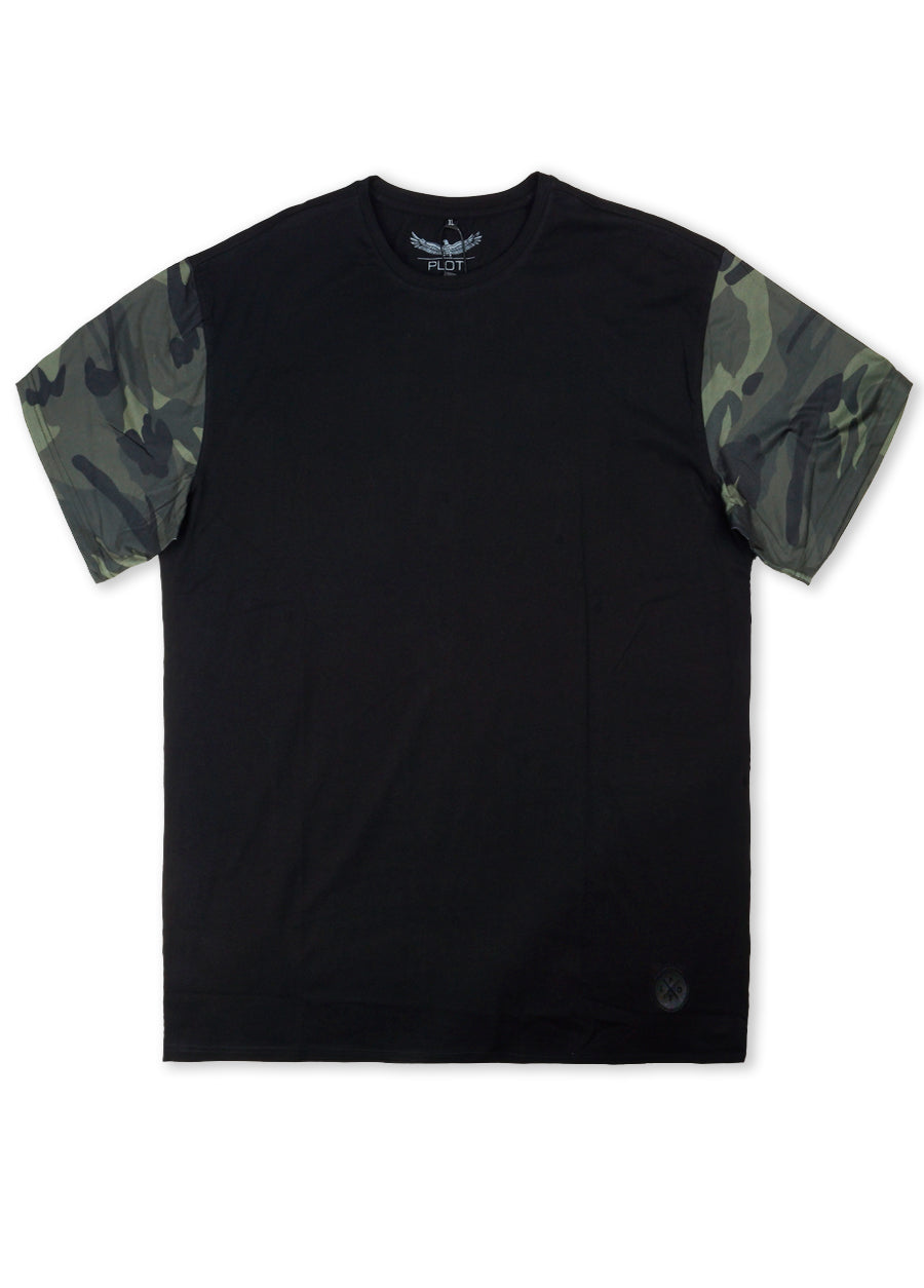 Plot Black BS7T77 Camo Short Sleeve  Tee