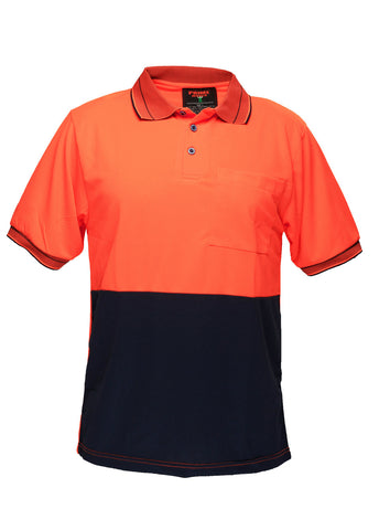 Prime Mover Orange / Navy Micro Mesh Short Sleeve Polo