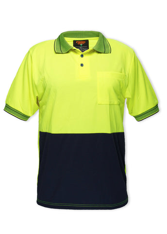 Prime Mover Yellow / Navy Micro Mesh Short Sleeve Polo