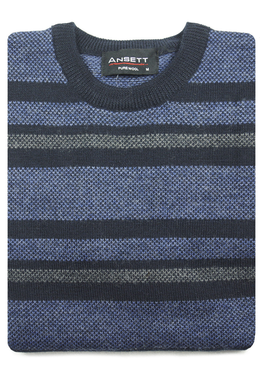 Pure Wool Striped Crew Neck Pullover