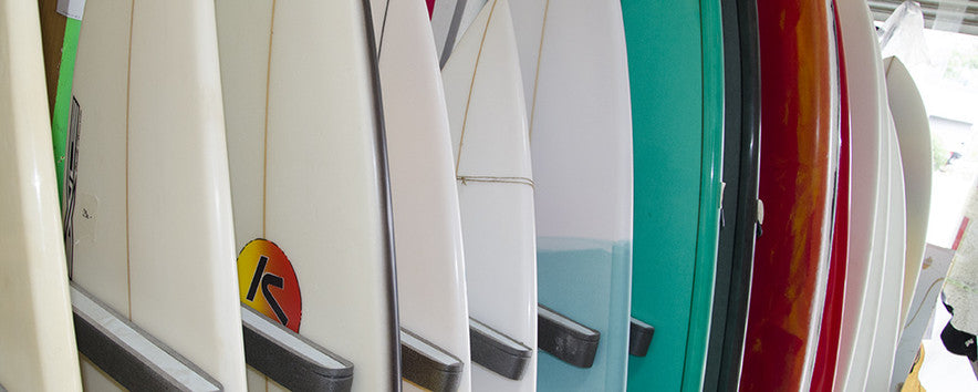 Finished surfboards in the shop