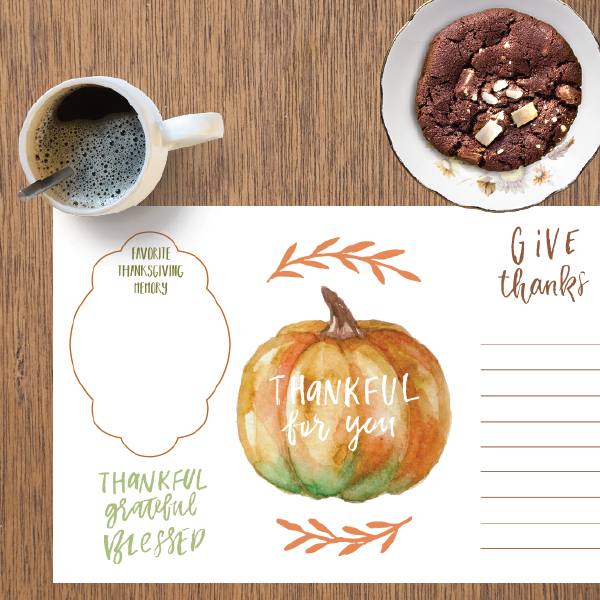 Casual Thanksgiving Place Mat | Printable