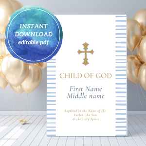 Little Boy's Baptism Poster | Editable PDF Printable
