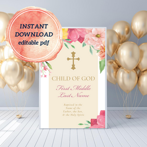 Little Girl's Baptism Poster | Editable PDF Printable