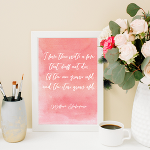 Shakespeare Valentine's Day Printable