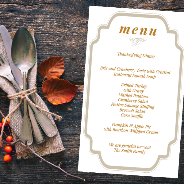 Thanksgiving Menu | Printable
