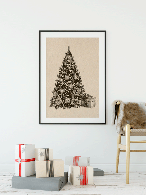 Vintage Christmas Tree Print | Printable