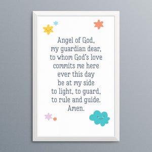 graphic about Prayer Printable titled Angel of God Prayer Printable