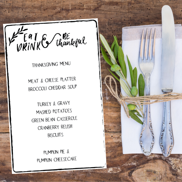 Casual Thanksgiving Menu | Printable