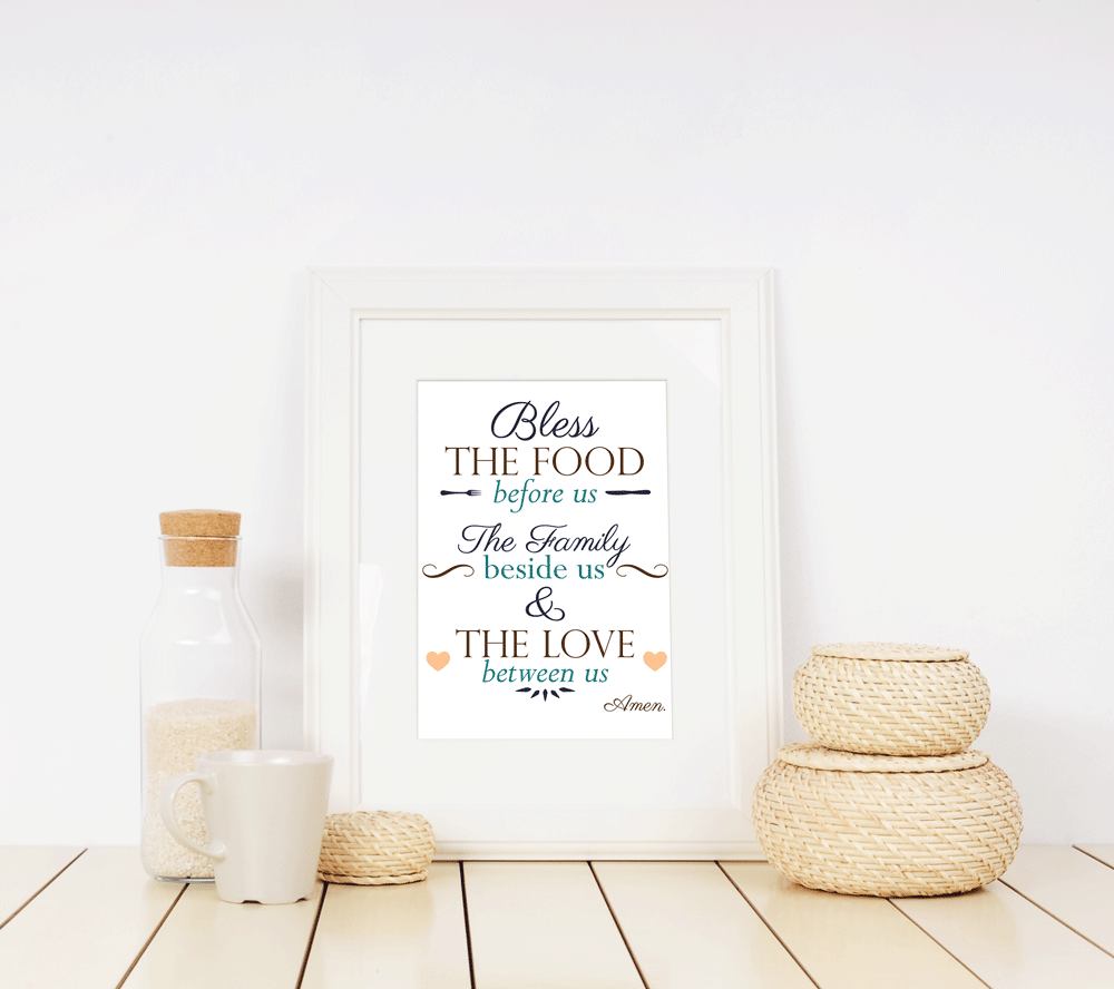image about Bless the Food Before Us Printable titled Kitchen area Blessing Printable One of a kind Printables Ampersand Etcetera