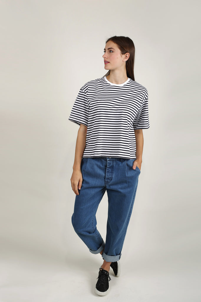 Building Block Boxy Tee - Blue/White Stripe