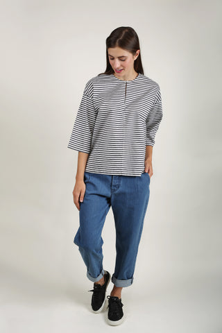 Gallery Top - Navy White Stripe