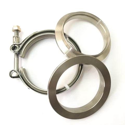 "2.5"" Titanium V-Band Clamp Assembly (2 Flanges & 1 Clamp)"