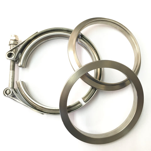 "3.5"" Titanium V-Band Clamp Assembly (2 Flanges & 1 Clamp)"